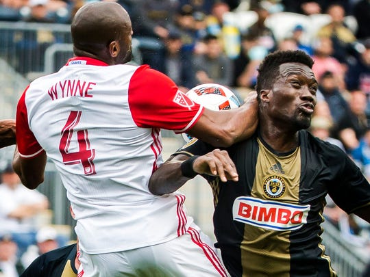 Philadelphia's C.J. Sapong is hit in the neck by San Jose's Marvell Wynne as they go up for a header in the first half of a 1-1 draw between the Philadelphia Union and the San Jose Earthquakes at Talen Energy Stadium in Chester, Pa. on Saturday afternoon.