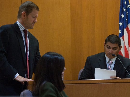 Senior Deputy District Attorney Blake Heller questions Oxnard police Detective Jess Aragon during an August hearing in Ventura County Superior Court to determine if Joseph Salas, 18, of Port Hueneme should be included on a gang injunction.