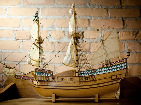 A model of a tall ship on display May 12, 2015 at 430