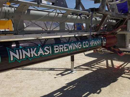 The rocket carrying the Ninkasi payload is readied for launch.