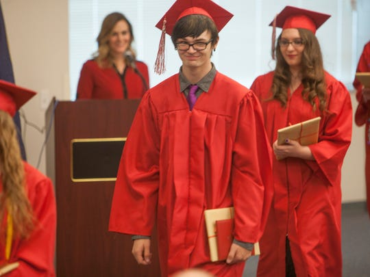 Graduates of Utah Online High School during their graduation Friday, May 22, 2015.