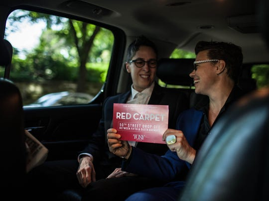 Alison Bechdel of Bolton, Vt., sits in the SUV on the Upper East Side about to take her and her partner Holly Rae Taylor to the Tony Awards in New York City on Sunday.