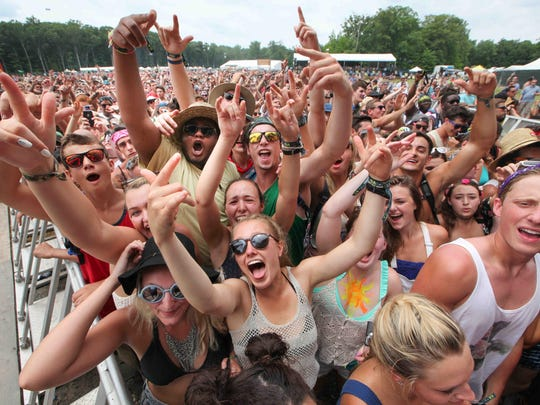 Fans rock to the sounds of Clean Bandit as they perform at the Firefly stage on day two of the Firefly Music Festival.