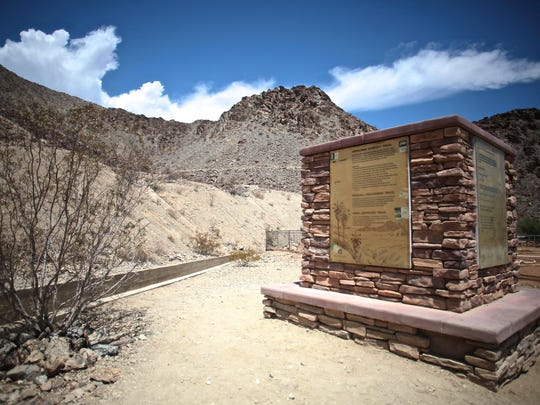 People frequent the Mike Schuler trail leading to the Bump and Grind trail where a man died Saturday in Palm Desert.