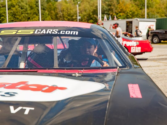 Emily Packard in her car for the the 37th annual Coca-Cola Labor Day Classic 200 at Thunder Road in Barre on September 6.