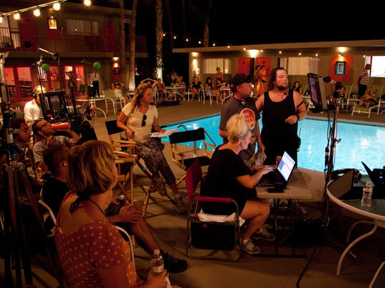 """On the set of """"Palm Swings"""" at Skylark Hotel in Palm Springs directed by Sean Hoessli."""