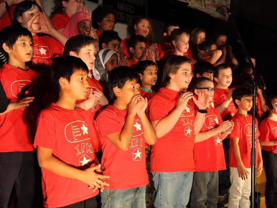"""Winooski students from the John F. Kennedy School perform """"Our Hopes and Dreams."""""""