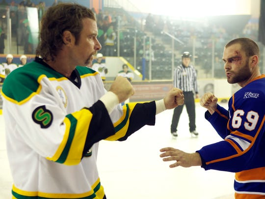 """Ross Rhea (Liev Schreiber, left,) and Doug Platt (Seann Williams Scott) fight on the ice in a scene from the motion picture """"Goon."""" Photo by Magnolia Home Entertainment [Via MerlinFTP Drop]"""