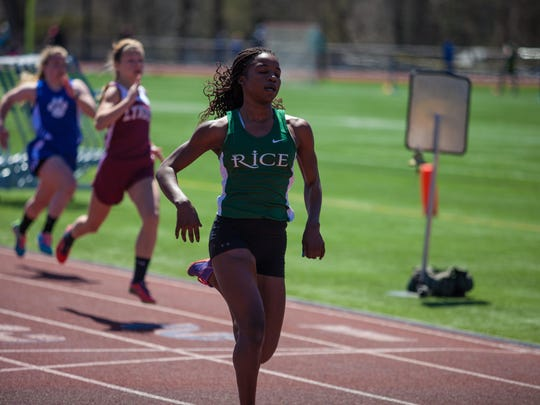Rice sophomore Sonia John raced to first place in the 100, 200 and 400 at Saturday's Essex Invitational track and field meet.