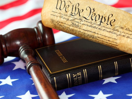 US Constitution, Bible, Flag and Gavel