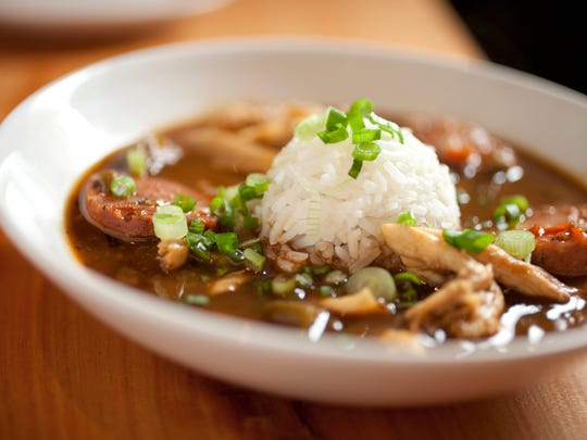 A hearty gumbo with chicken and sausage