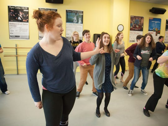 Select Show Choir member Hilary Stewart sings a solo with the Selects at Saturday rehearsal in the FlynnSpace dance studio in Burlington.