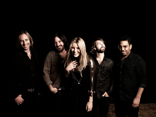 Grace Potter and the Nocturnals in 2012; left to right, Matt Burr, Scott Tournet, Grace Potter, Benny Yurco, Michael Libramento.