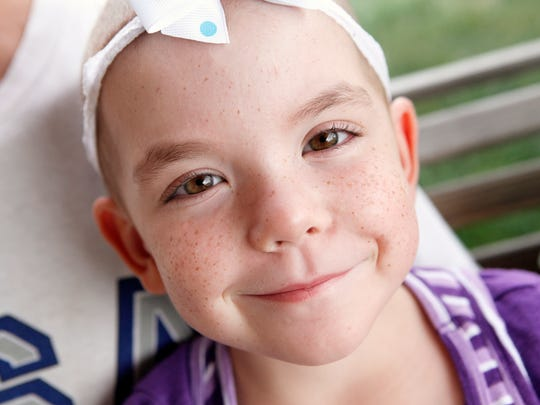 Gracie Tapp, 5, of West Chester.  The Enquirer DRAGONFLY GRACE: Tuesday, August 21, 2012: METRO. Gracie Tapp, 5, of West Chester, was diagnosed in January 2012 with Acute Lymphoblastic Leukemia. Gracie's symptoms first appeared in September 2011 after she tripped over a soccer ball and continued to have intense pains. The Enquirer/ Amanda Davidson