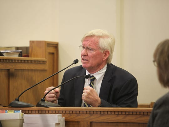 Dr. Robert Bender, a Des Moines geriatrician, testifies Friday at Henry Rayhons' trial in Hancock County District Court.
