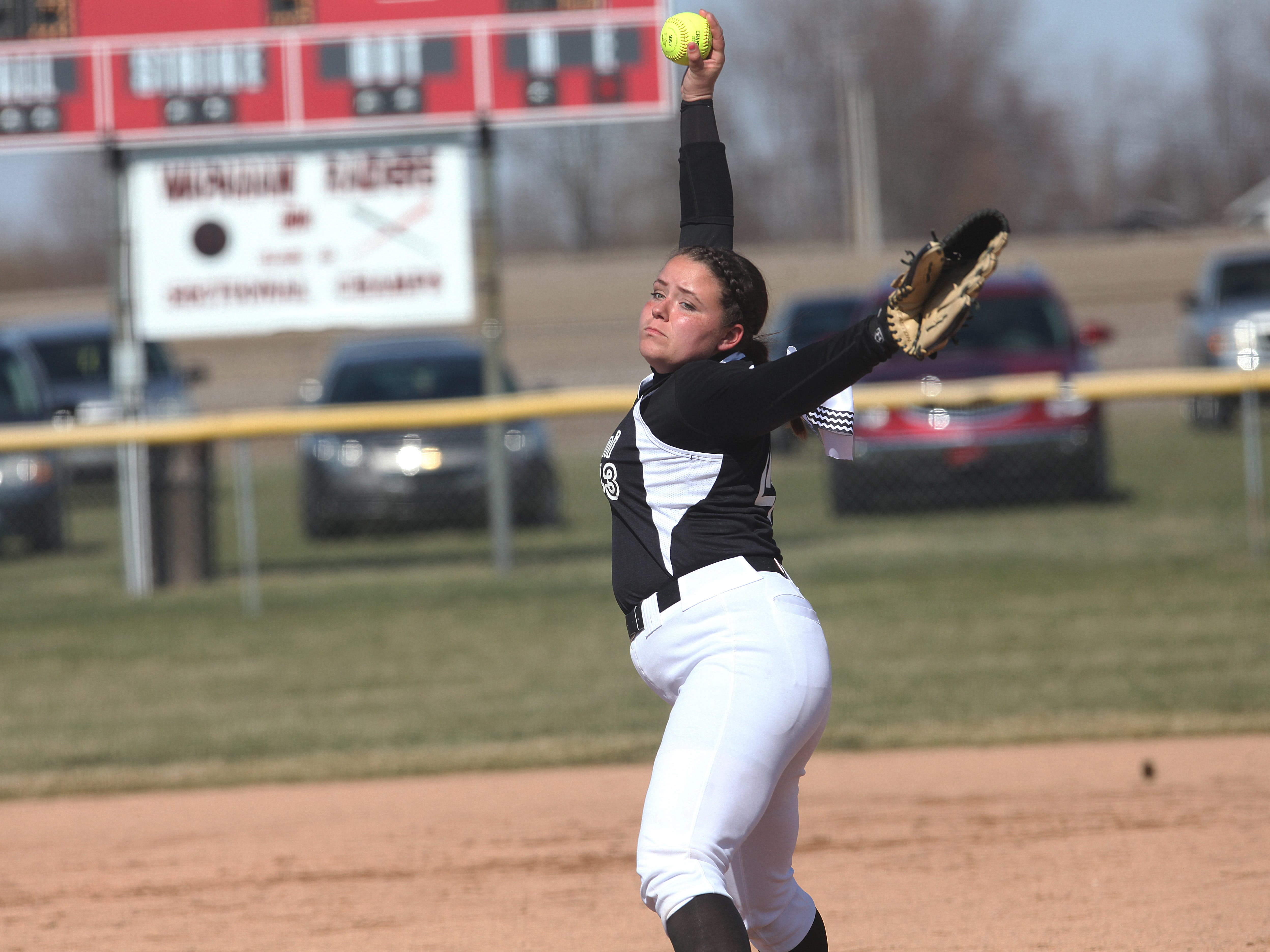 Wapahani's Kaija Aikman delivers a pitch in the Raiders' 8-2 win in game one over Jay County.