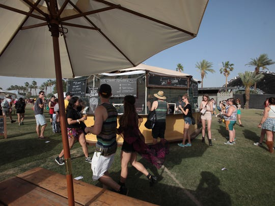 Yurts serving food drinks and snacks at the Coachella Music and Arts Festival on Saturday, April 12, 2014 in Indio.