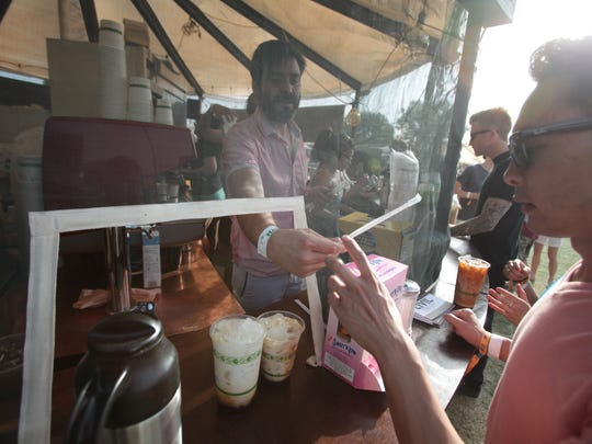 Santiago Garfunkel, works the Civil Coffee yurt at the Coachella Music and Arts Festival on Saturday, April 12, 2014 in Indio.