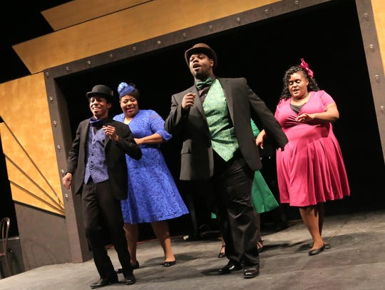 """Cast members from the Renaissance Theatre's production of """"Ain't Misbehavin'"""" rehearse a scene. The play will run from April 12-15."""