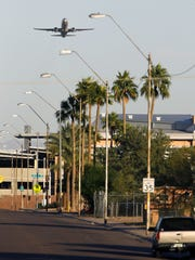 Aircraft depart to the west from Phoenix Sky Harbor