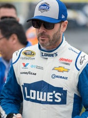 Jimmie Johnson (car #48) before the start of the NASCAR