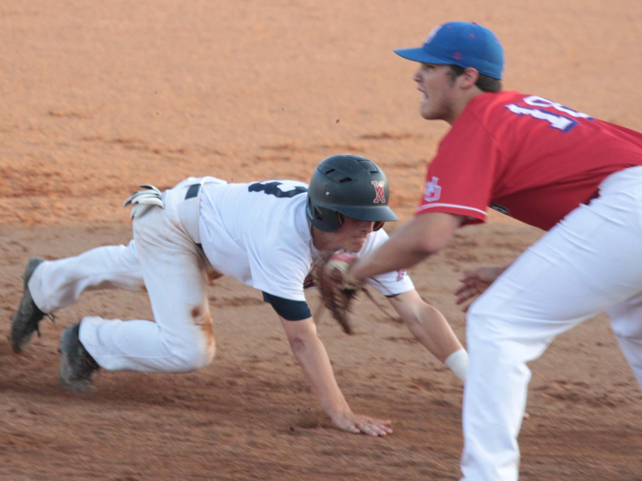 West Monroe and West Ouachita meet in baseball action in early April. No. 8 West Ouachita beat No. 25 South Terrebonne 2-1 in the first round of the LHSAA Class 4A baseball playoffs Tuesday in Cadeville.