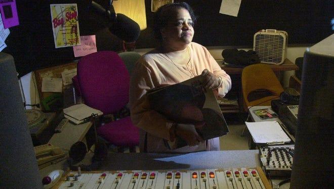 Kit White in the radio studio in Binghamton University's Student Union from where she broadcast Gospel Time!