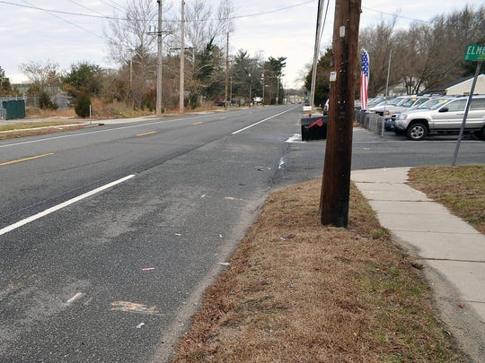 The intersection of Delsea Drive and Elmer Street, near where Matthew McCloskey was struck and killed Sunday night.
