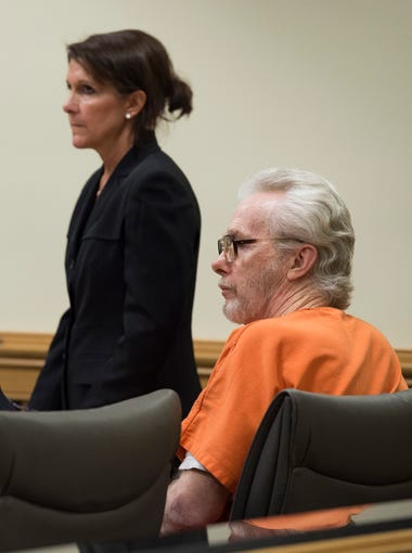 James Morgan (right), who killed 66-year-old Gertrude Trbovich in 1977 when he was 16 years old, appears in court with defense attorneys Michael Salnick (left) and Lisa Viscome on Monday, June 11, 2018 at the Martin County Courthouse in Stuart. Despite four murder trials, four death sentences, one parole hearing and being sentenced to a life term, Morgan, 57, is eligible for a resentencing because of a recent court ruling regarding juvenile murderers.