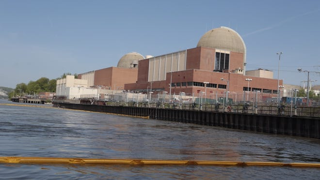 A boom surrounds a 75-foot by 100-foot containment area to capture and absorb any oil that was spilling into the Hudson River after a transformer explosion and fire at Indian Point in Buchanan. The boom was seen May 10, after the May 9 incident at the the nuclear facility.
