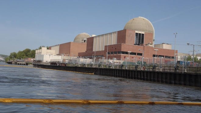 Indian Point, seen from the Hudson River on May 10, the day after a transformer explosion and fire at the nuclear power facility in Buchanan.
