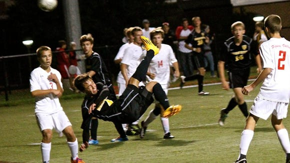 Senior David Alejos pulled off a bicycle kick for a goal again Pequea Valley on Monday, September 8, 2014. (GameTimePA.com--Justin Bandy)