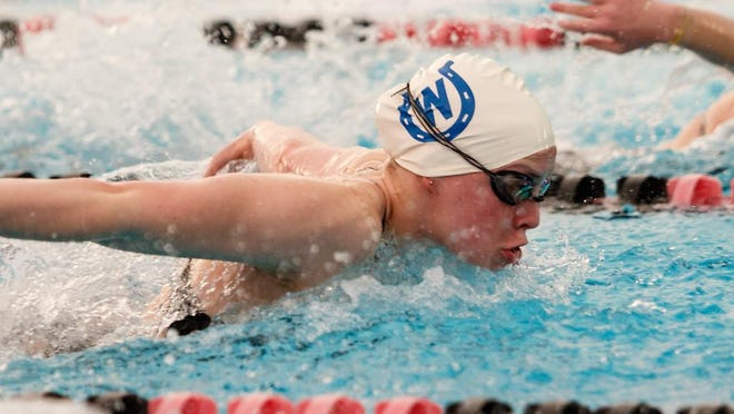 Wyoming junior Becca Prangley competes in the butterfly for the Cowboys.