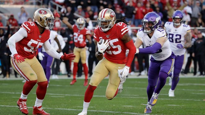 San Francisco 49ers cornerback Richard Sherman (25) runs in front of Minnesota Vikings wide receiver Adam Thielen as 49ers defensive end Dee Ford (55) looks on after Sherman intercepted a pass during the second half of an NFL divisional playoff football game, Saturday, Jan. 11, 2020, in Santa Clara, Calif.