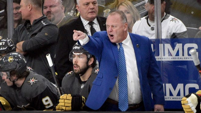 Vegas Golden Knights coach Gerard Gallant questions a call during the first period of the team's NHL hockey game against the Arizona Coyotes on Saturday, Dec. 28, 2019, in Las Vegas.