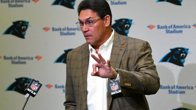 Former Carolina Panthers head coach Ron Rivera emphasizes the three consecutive NFC South division titles that his teams won, during a press conference at Bank of America Stadium in Charlotte, NC on Wednesday, December 4, 2019. Rivera was fired as coach on Tuesday.