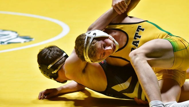 Devon Weber wrestles his way to first place at Andover on Saturday, Feb. 1.