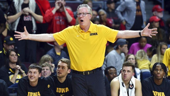 Iowa coach Fran McCaffery reacts to a call during the 2019 against San Diego State Friday in Las Vegas.