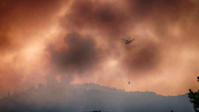 The Badger Fire near Yreka has grown to 450 acres and is 35% contained, said CAL FIRE. This photo of the fire, which is still under investigation, was taken on Saturday afternoon.