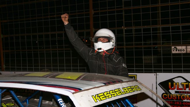Kalvin Kesselberg of Ada scored his first career win at Norman County Raceway last Thursday.