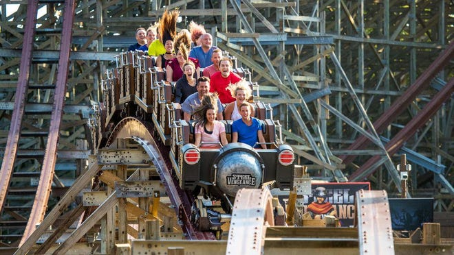 Visitors ride Cedar Point's Steel Vengeance, previously known as Mean Streak.
