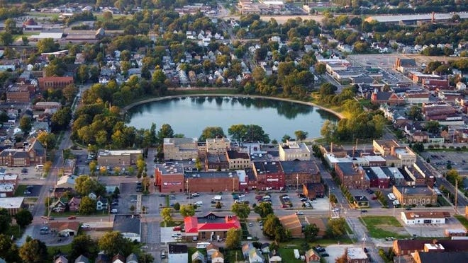 Aerial view of downtown Barberton and Lake Anna.