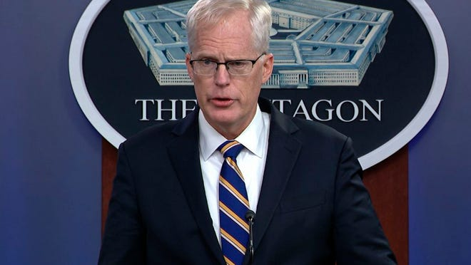In this Tuesday, Nov. 17, 2020, image taken from a video provided by Defense.gov Acting Defense Secretary Christopher Miller speaks at the Pentagon in Washington.