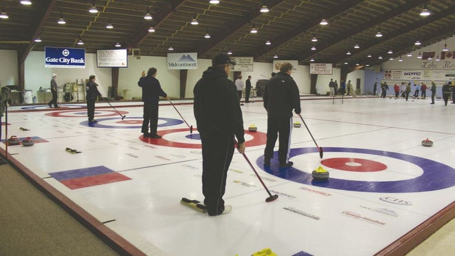 This photo, from years gone by, shows five of its six sheets in play at the Lake Region Curling Club in Devils Lake, North Dakota.
