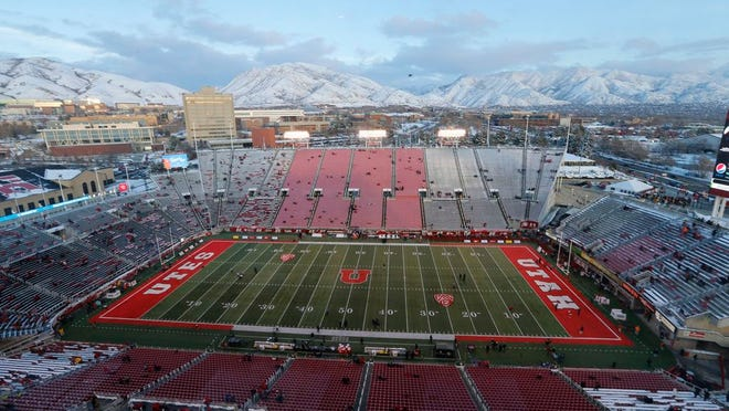 Rice-Eccles Stadium is shown before the start of an NCAA college football game between Colorado and Utah Saturday, Nov. 30, 2019, in Salt Lake City.