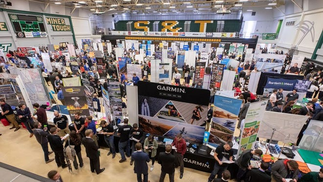 The Career Fair at Missouri S&T on Feb. 19, 2019. Photo was taken before current COVID-19 guidance.