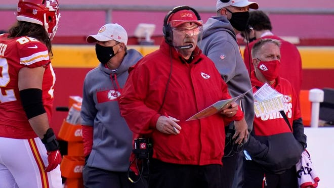 Kansas City Chiefs head coach Andy Reid watches play against the New York Jets in the second half of an NFL football game on Sunday, Nov. 1, 2020, in Kansas City, Mo.