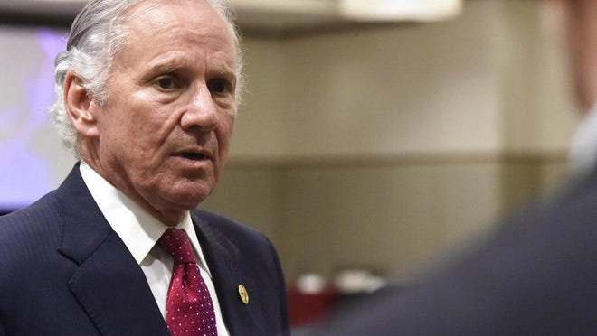 File - South Carolina Gov. Henry McMaster speaks with reporters after the first meeting of accelerateSC, his advisory group about reopening the state economy, onThursday, April 23, 2020, in Columbia, S.C.