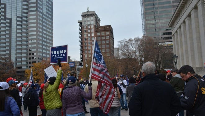 """The """"Stop the Steal"""" protest at the Statehouse on Saturday, Nov. 14"""