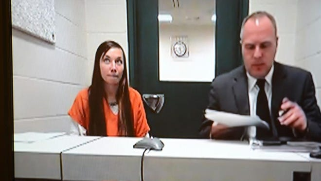 Cassie Nygren makes her initial court appearance for drug possession on Monday in Green Bay.